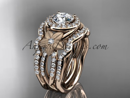 "14kt rose gold  diamond floral wedding ring, engagement ring with a ""Forever One"" Moissanite center stone and double matching band ADLR127S"