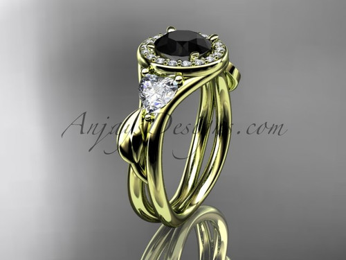 14kt yellow gold diamond unique engagement ring, wedding ring  with a Black Diamond center stone ADLR314
