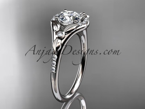 """14kt white gold diamond floral wedding ring, engagement ring with a """"Forever One"""" Moissanite center stone ADLR126"""