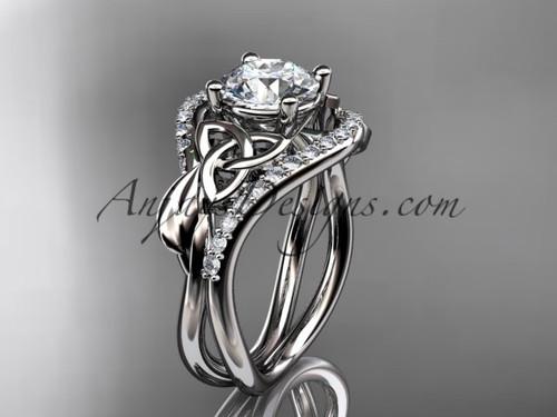 14kt white gold diamond celtic trinity knot wedding ring, engagement ring CT7244