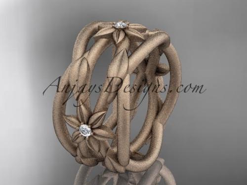 14kt rose gold matte finish leaf and vine, flower wedding ring,wedding band ADLR352B