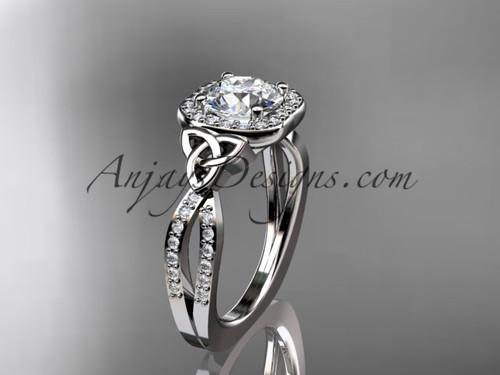 14kt white gold diamond celtic trinity knot wedding ring, engagement ring CT7393