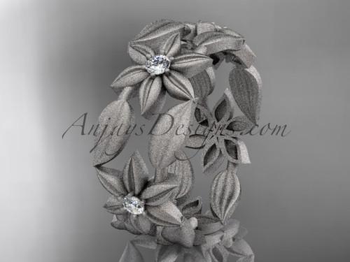 14kt white gold diamond leaf and vine, flower wedding ring, engagement ring, wedding band ADLR344