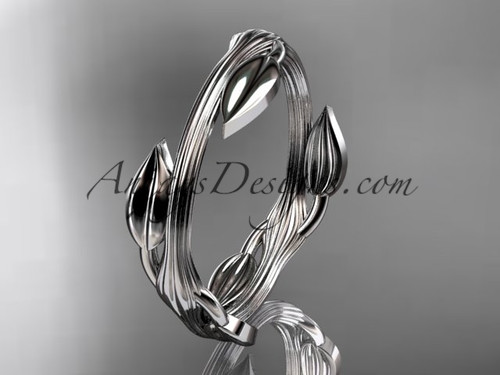 14kt white gold leaf and vine wedding ring, engagement ring ADLR31G