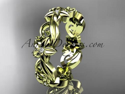 14kt yellow gold diamond flower wedding ring, engagement ring, wedding band ADLR217B