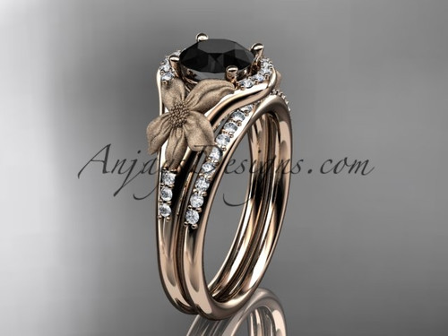 14kt rose gold diamond leaf and vine wedding ring, engagement set with a Black Diamond center stone ADLR91S