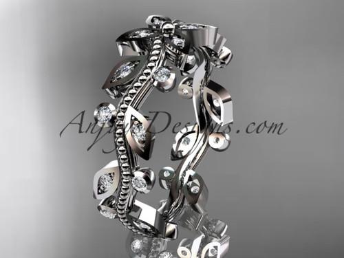 platinum  diamond leaf and vine wedding ring, engagement ring, wedding band ADLR3B