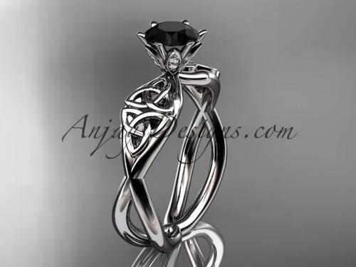 platinum diamond celtic trinity knot wedding ring, engagement ring with a Black Diamond center stone CT7221