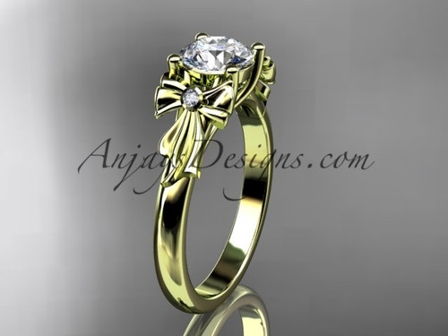 "14kt yellow gold diamond unique engagement ring, wedding ring with a ""Forever One"" Moissanite center stone ADER154"