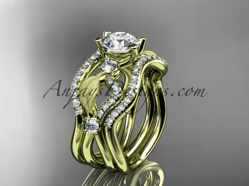 """14kt yellow gold diamond leaf and vine wedding ring, engagement ring with """"Forever One"""" Moissanite center stone and double matching band ADLR68S"""