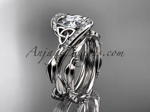 Celtic Moissanite 14k White Gold Bridal Wedding Sets CT764S