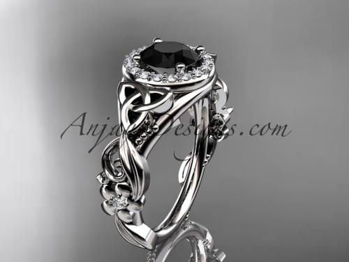 Platinum Black Diamond Celtic Halo Engagement Ring CT7300