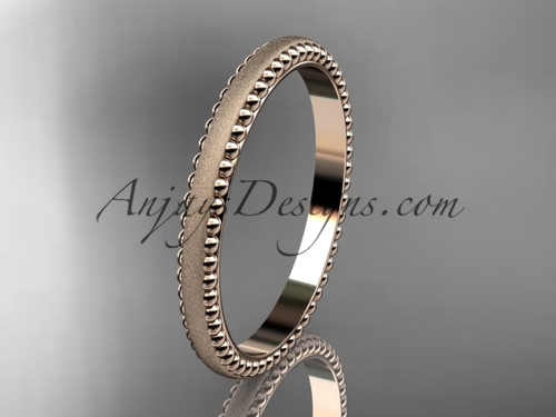 14kt rose gold matte finish classic wedding band, engagement ring ADLR384G