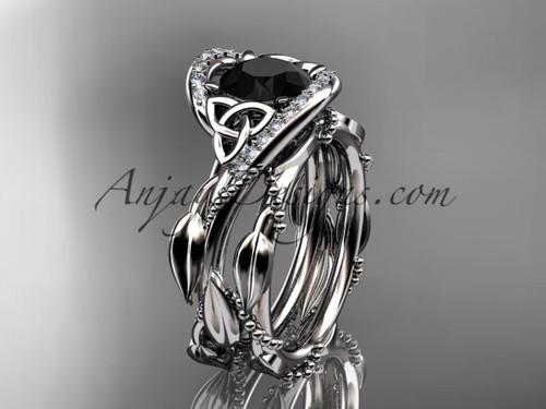 Celtic Black Diamond Platinum Bridal Wedding Sets CT764S