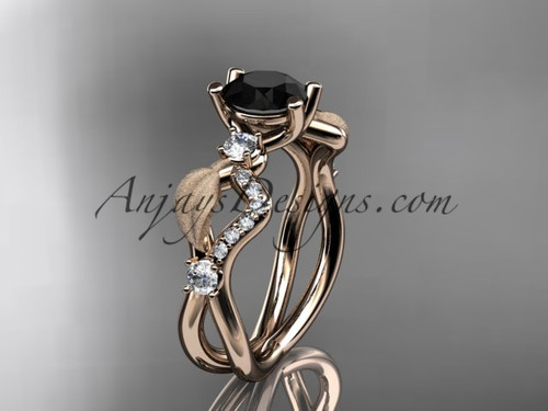 14kt rose gold diamond leaf and vine wedding ring, engagement ring with Black Diamond center stone ADLR68
