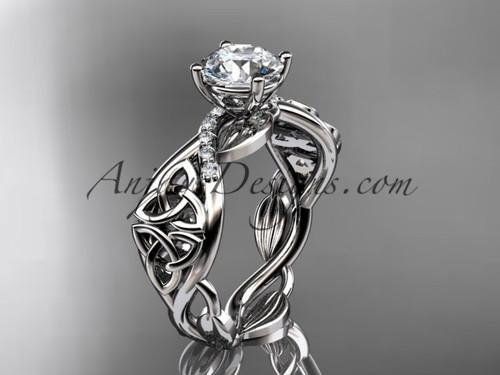 14kt white gold diamond celtic trinity knot wedding ring, engagement ring CT7270