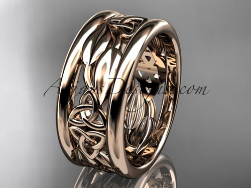 14kt rose gold celtic trinity knot wedding band, engagement ring CT7293GA