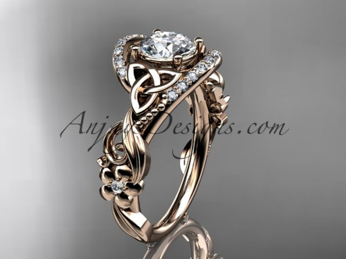 Rose Gold Diamond Flower Ring, Celtic Engagement Ring CT7211