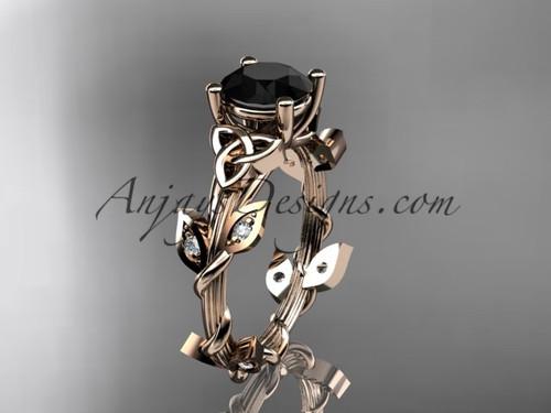 Rose Gold Celtic Trinity Knot Bridal Ring, Leaf Black Diamond Wedding Ring CT7215