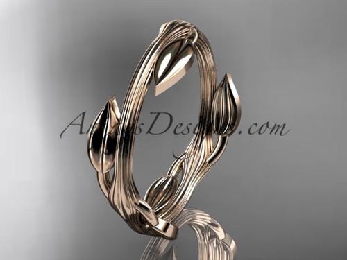 14kt rose gold leaf and vine wedding ring, engagement ring ADLR31G