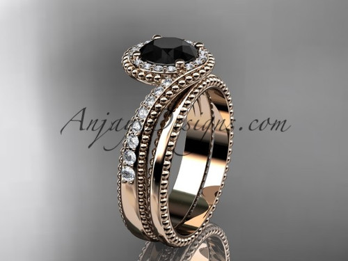 14kt rose gold halo diamond engagement set with a Black Diamond center stone ADLR379S