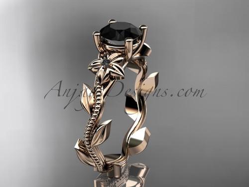 Dream Engagement Ring, Rose Gold Black Diamond Ring ADLR238