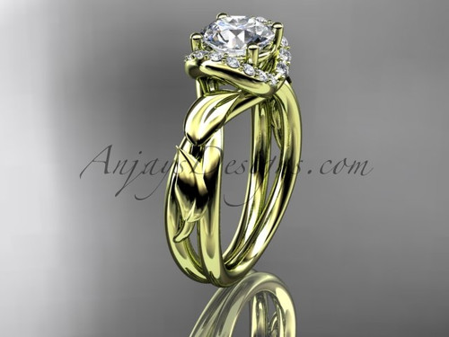 "14kt yellow gold diamond leaf and vine wedding ring, engagement ring with a ""Forever One"" Moissanite center stone ADLR289"