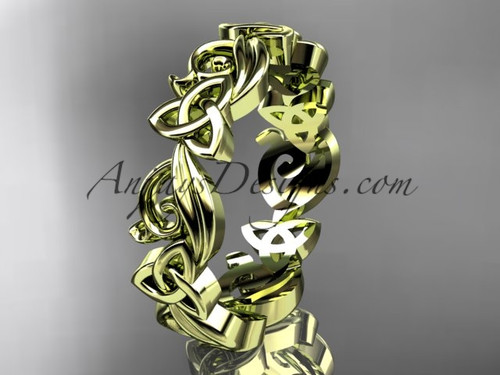 Celtic Wedding Rings no Diamonds Yellow Gold Band CT7191B
