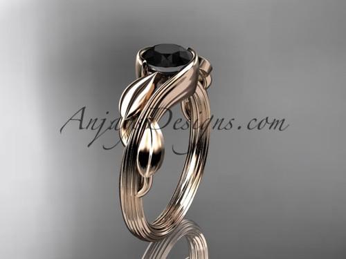 Black Diamond Leaf Engagement Ring 14kt Rose Gold ADLR273