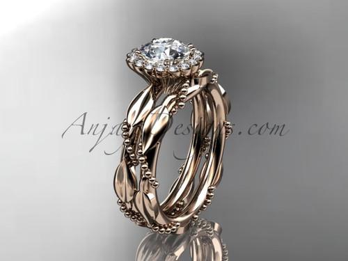 "14kt rose gold diamond leaf and vine wedding set, engagement set with a ""Forever One"" Moissanite center stone ADLR337"