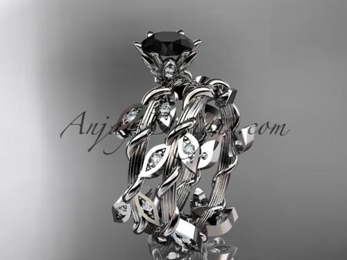 platinum diamond leaf and vine engagement ring, engagement set with a Black Diamond center stone ADLR20S