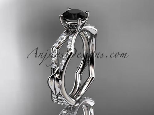platinum diamond leaf and vine wedding ring,engagement ring with a Black Diamond center stone ADLR353