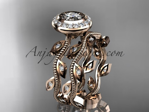 "14k rose gold diamond leaf and vine wedding ring, engagement ring, engagement set with a ""Forever One"" Moissanite center stone  ADLR212S"