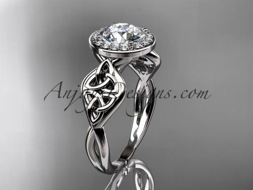 Halo Diamond Ring, White Gold Celtic Wedding Ring  CT7219
