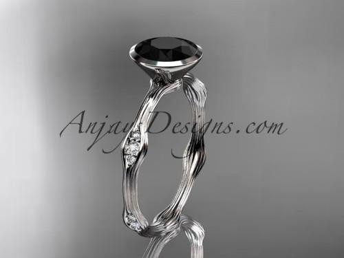 platinum  diamond vine wedding ring, engagement ring with Black Diamond center stone ADLR21A