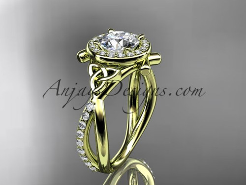 "14kt yellow gold celtic trinity knot engagement ring, wedding ring with a ""Forever One"" Moissanite center stone CT789"