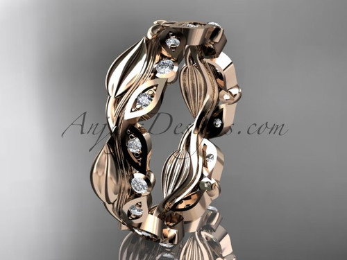 14kt rose gold diamond leaf and vine wedding ring, engagement ring, wedding band ADLR268B