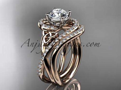 Wedding Ring Sets Rose Gold Celtic Moissanite Ring CT7320S