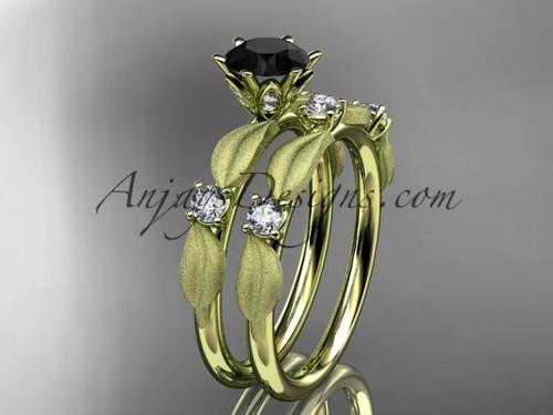 14kt yellow gold diamond unique leaf and vine engagement set, wedding set with a Black Diamond center stone ADER177S