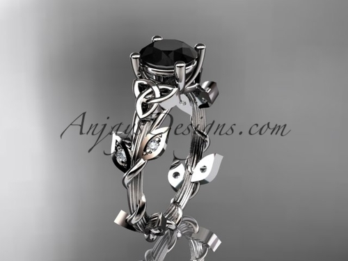 White Gold Black Diamond Celtic Trinity Knot Bridal Ring, Leaf Wedding Ring CT7215