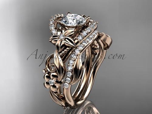 Celtic Bridal Set, Rose Gold Flower Wedding Ring Set ADLR211S