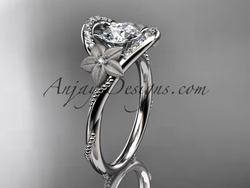 Flower Wedding Rings, White Gold Unique Bridal Ring ADLR166