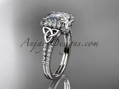 14kt white gold diamond celtic trinity knot wedding ring, engagement ring with Cushion Cut Moissanite CT7148