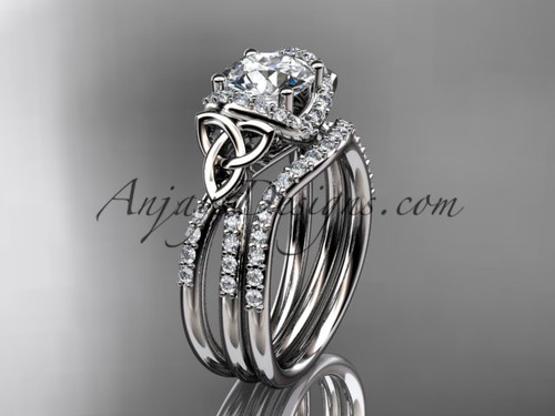 """14kt white gold diamond celtic trinity knot wedding ring, engagement set with a """"Forever One"""" Moissanite center stone CT7155S"""