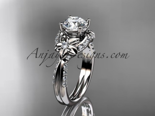 "Unique 14kt white gold diamond flower, leaf and vine wedding ring, engagement ring with a ""Forever One"" Moissanite center stone ADLR220"