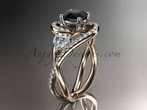 Unique 14kt rose gold diamond engagement ring, wedding ring with a Black Diamond center stone ADLR320