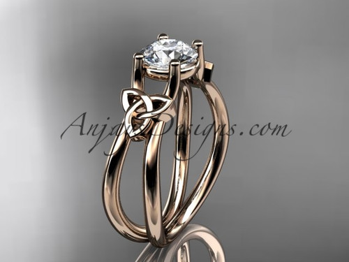 14kt rose gold celtic trinity knot wedding ring, engagement ring CT7130