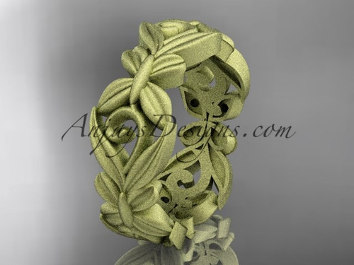 14kt yellow  gold matte finish leaf and vine, butterfly wedding ring,wedding band ADLR348G