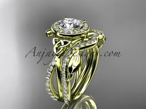 "14kt yellow gold celtic trinity knot engagement set, wedding ring with a ""Forever One"" Moissanite center stone CT789S"