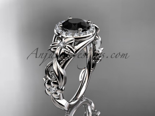 14kt white gold diamond unique engagement ring, wedding ring with a Black Diamond center stone ADLR300